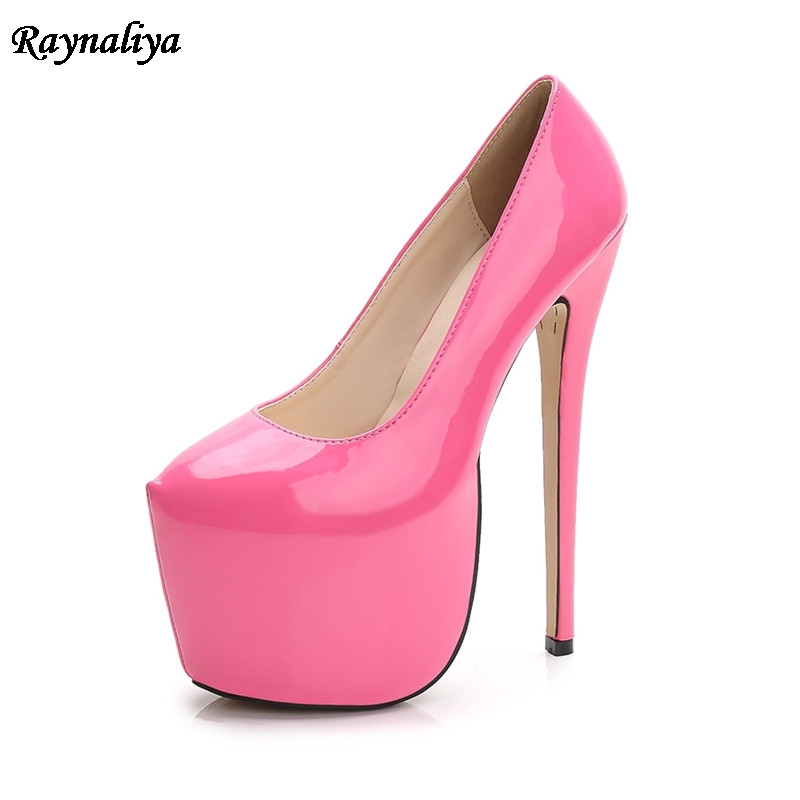 Women Plus Size 35-44 18cm Extreme Sexy High Heels Pumps 8cm Platform Nude Heels Pumps Red Wedding Lady Party Shoes MRNS-A0008 women shoes high heels pumps red high heels women shoes party wedding shoes pumps black nude red heels plus size 43 44 ljx06 c10