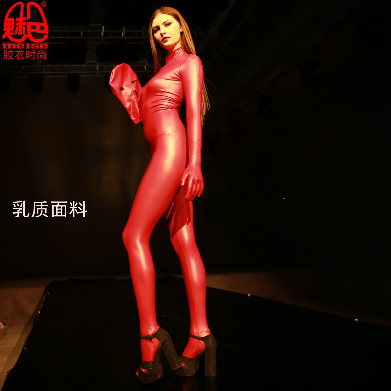 Ovesize Latex Pantyhose Full Body Mujer Long Sleeve Jumpsuit Onesie Women Open Crotch Rompers Elastic Sexy Body Shaping Overalls
