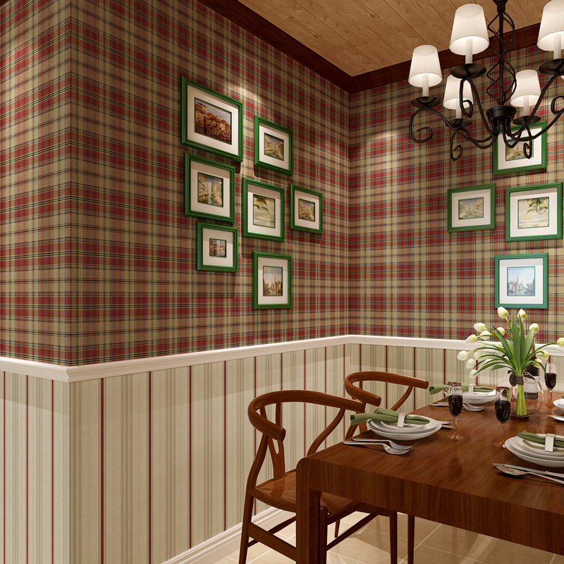 Country style scottish plaid wallpapers vintage pure paper wall paper for living room grid wallpaper for bedroom papel de parede in wallpapers from home