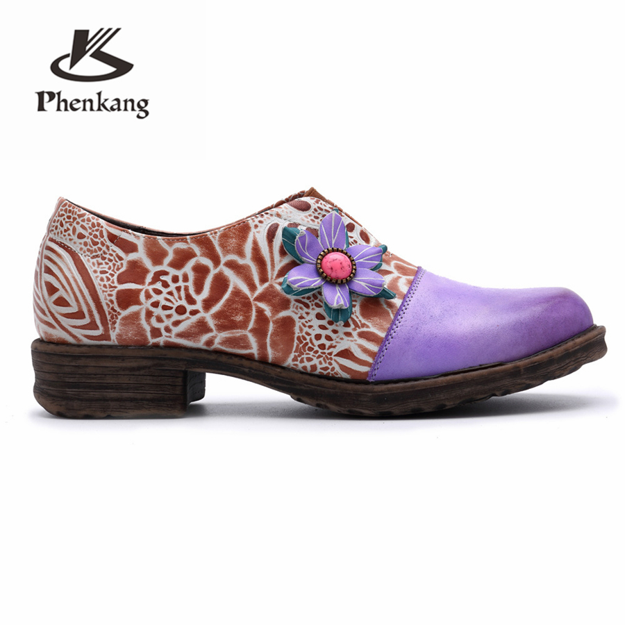 La À Cuir Chaussures Oxford Pour Dame Véritable Designer 2019 Vintage Plat Richelieu En Casual Rétro Vache 100 Printemps Violet Purple Femmes Main CO7Sqn