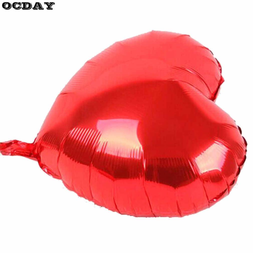 50 pçs/lote 10 polegada Coração Forma Folha de Alumínio Balões Infláveis Brinquedos Presentes de Aniversário Festa de Casamento Decoração De Alumínio Filme Crianças