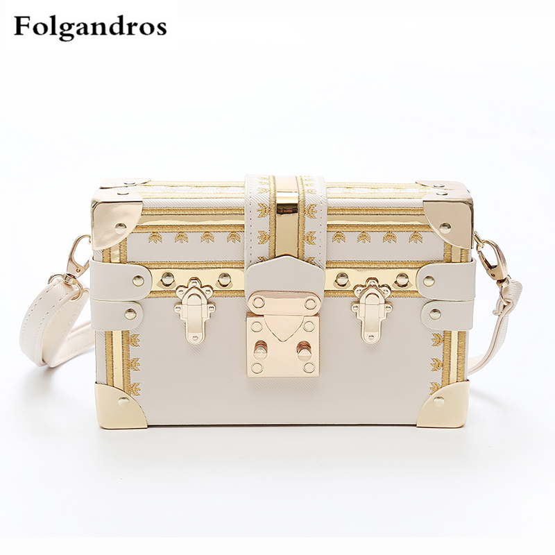3 Color Super Luxury Brand Clutches Women Handbag Crossbody Bags Metal Rivet Famous Design Box Bag Purse Women Shoulder Bags Sac