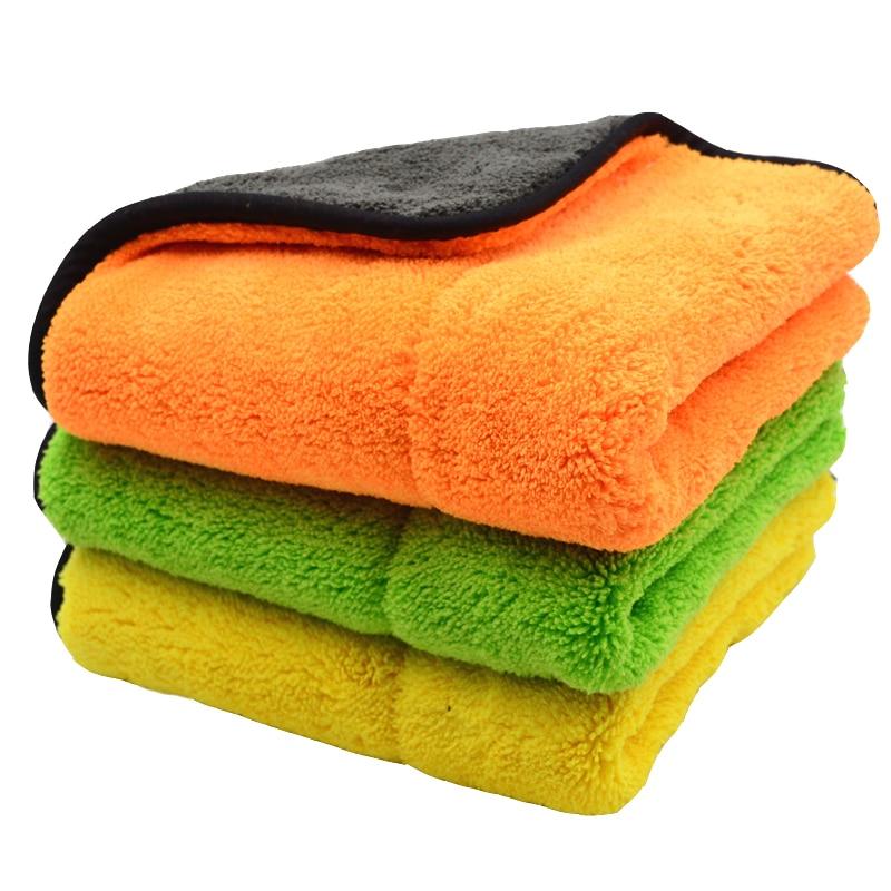 все цены на 3PCS 800GSM 45cmx38cm Super Thick Plush Microfiber Car Cleaning Cloths Car Care Microfibre Wax Polishing Detailing Towels Soft онлайн