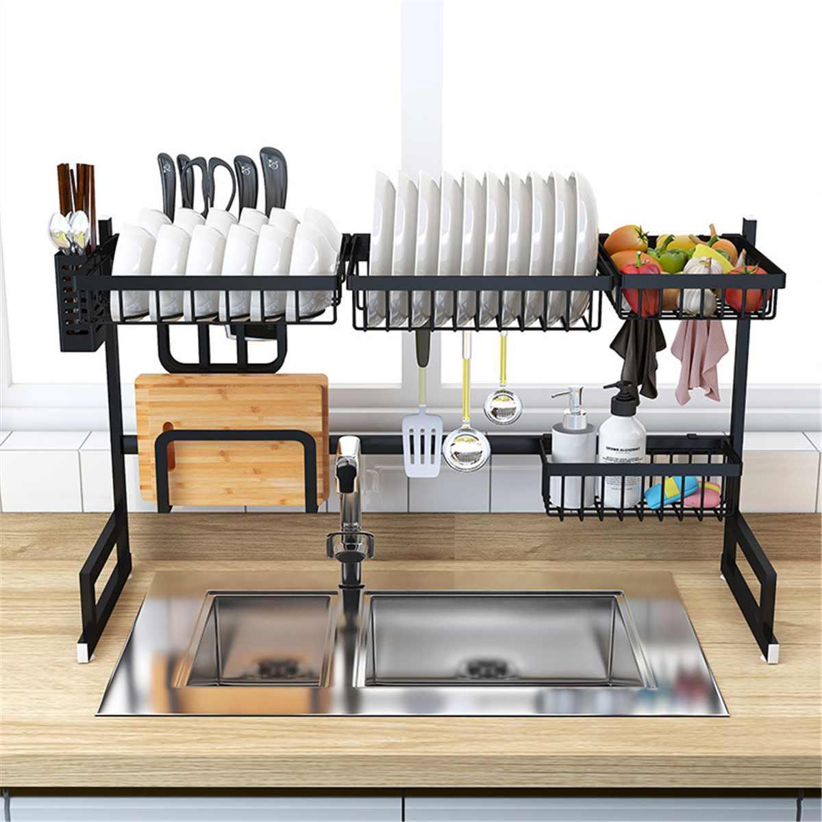 65 85cm Over Sink Stainless Steel Kitchen Shelf Storage Holders Bowl Dish Rack Organizer Utensils Storage Supplies In Black