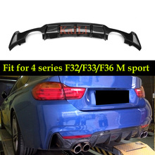 4 Series For F32 F33 Carbon Fiber Car Rear Bumper Lip Diffuser for BMW F36 M Sport Only 435i 420i 2014-IN