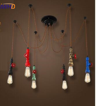 Creative Retro Iron Pendant Lamp Single Head Vintage Industria Pendant Lights Simple Antique Hanging Lamps Bedroom Edison Bulb black spider chandelier lamp with iron cover vintage retro pendant edison creative 1 6 10 head diy ceiling pendant lamp wpl079