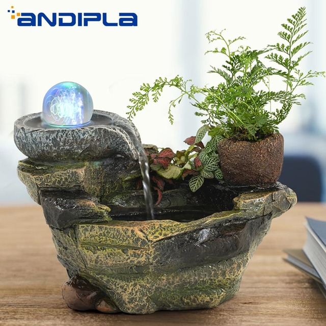 110V-240V Resin Rockery Water Fountain Bonsai Fish Tank LED Lucky Crystal Ball Office Desktop Flower Pot Feng Shui Home Decor