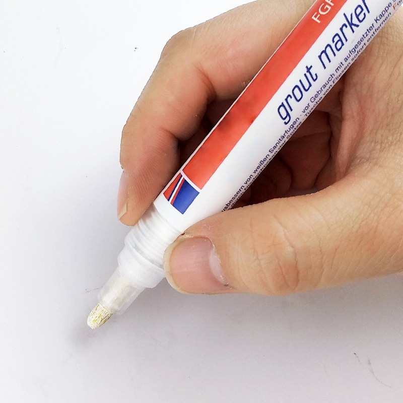 Beige Color Home Tile Grout Marker Repair Wall Pen White Grout Marker Odorless Non Toxic For Tiles Floor 1pc