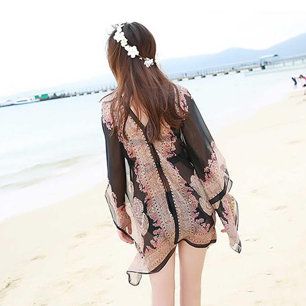 Mujeres verano playa Bikini cubrir hacia arriba blusa de gasa suelta chal bufanda con botones
