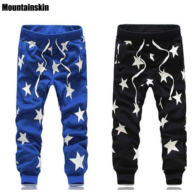 Mountainskin 2017 New Fashion Harem Men's Pants Full length Emoji Jogger Men Pants Cotton Print Star HaraJuku Jogger Pants,JA079