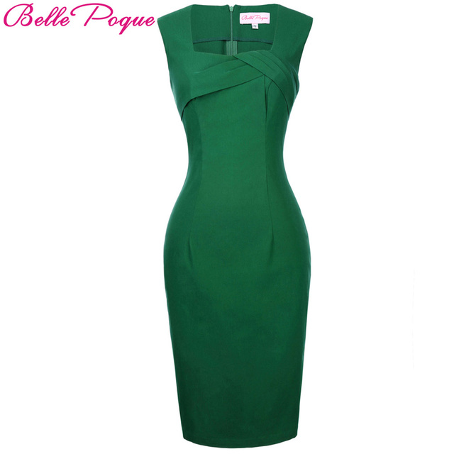 Belle Poque 2017 Women Elegant Pencil Dress Sexy Club Sleeveless Green Sheath Bodycon Dresses Vintage Summer Party Work Vestidos