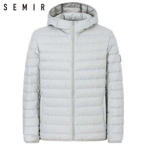 سمير 90% بطة أسفل سترة للرجل خفيفة الدافئة الشتاء سترة الرجال بطة أسفل سترة الرجال ملابس خارجية عارضة معطف مقنع