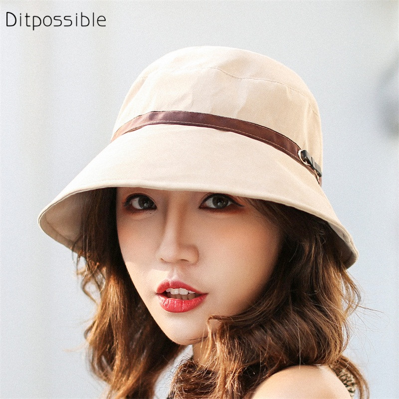 Ditpossible nueva moda bucket sombreros para las mujeres verano pesca niñas  Panamá sombrero de playa 74c7ab03300