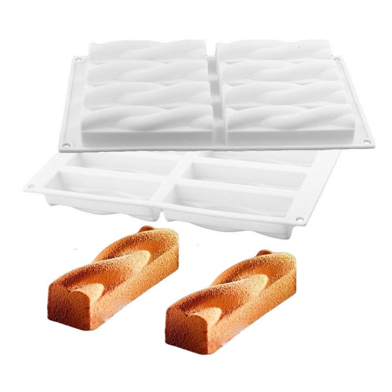 Blanc Twist Forme Silicone Chocolat Moule Non-Bâton De Décoration De Gâteau Accessoires Outils De Cuisson