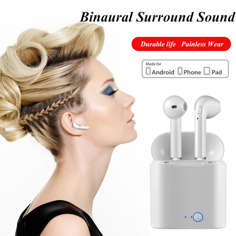 FERSHA I7s TWS Bluetooth wireless headset stereophone With charger Full Bluetooth for tablets and smartphone headsets Karachi