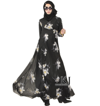 Fashion Muslim Dress Abaya in Dubai Islamic Clothing For Women Muslim Abaya Jilbab Djellaba Robe Musulmane Floral Print Dress