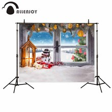 Allenjoy new arrivals photo backdrops Windows winter Christmas gifts snowman children backdrop photocall photo printed no stand allenjoy vinyl photo backdrops pink board flowers romantic wedding backdrop photocall professional customize excluding stand
