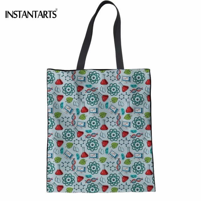 Instantarts Science Research Printing Women Linen Ping Tote Bags Multi Function Eco S Recycling
