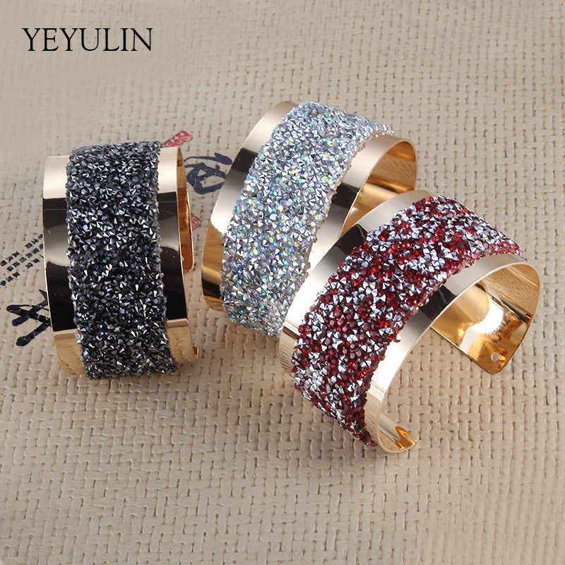 New Design Office Lady Crystal Gold Color Alloy wide cuff bangles For women bracelet Jewelry Gift
