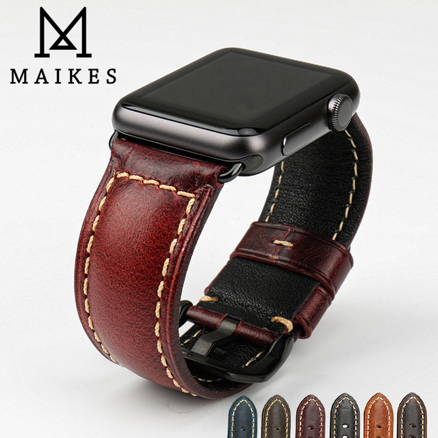 MAIKES genuine cow leather watch accessories for apple watch strap 40mm 38mm brown apple watch band 44mm 42mm iwatch 4 bracelet 4