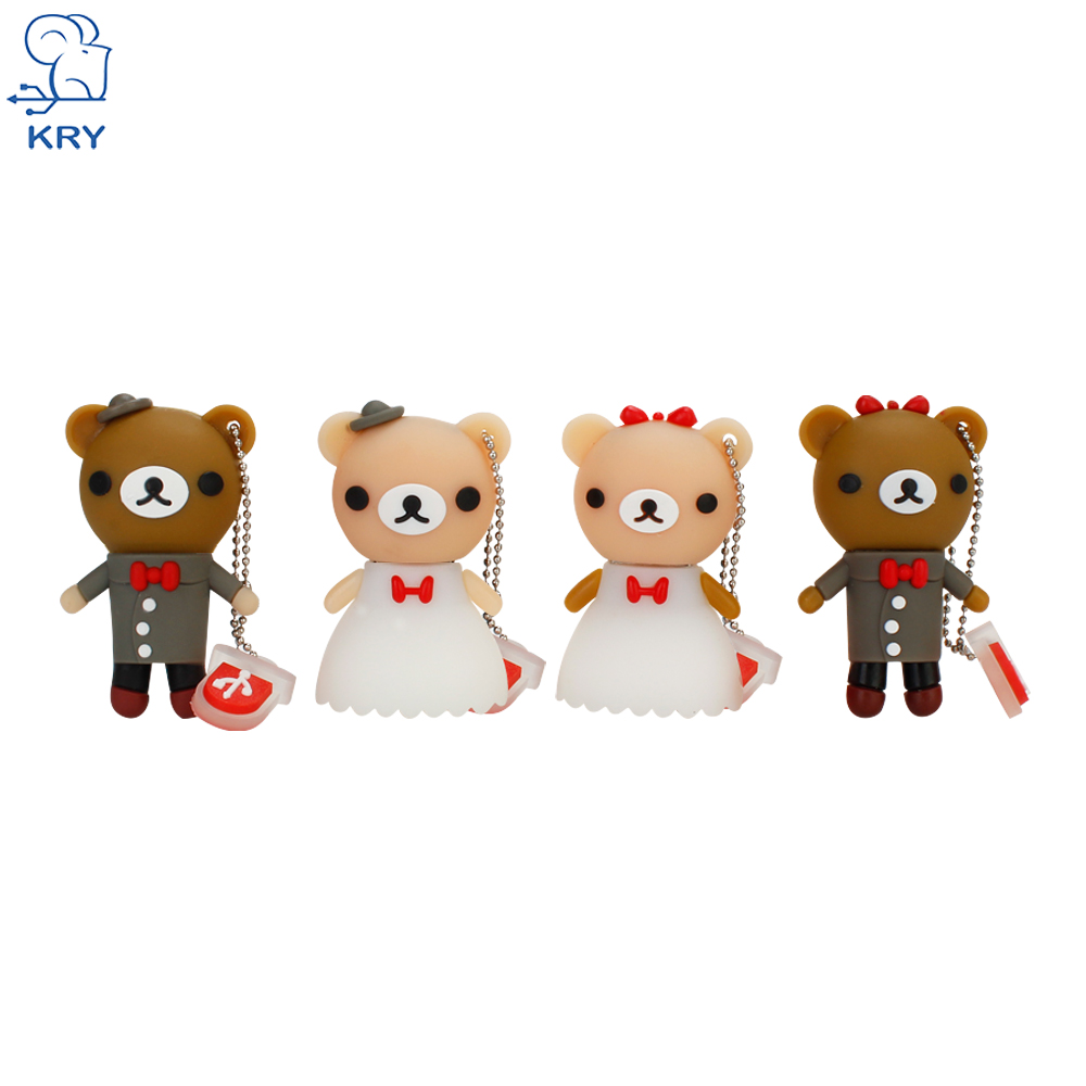 KRY cute bear shape memory stick pen drive 2.0 4GB 8GB 16GB 32GB 64GB 128GB USB drive wedding pendrive bride groom brown bear