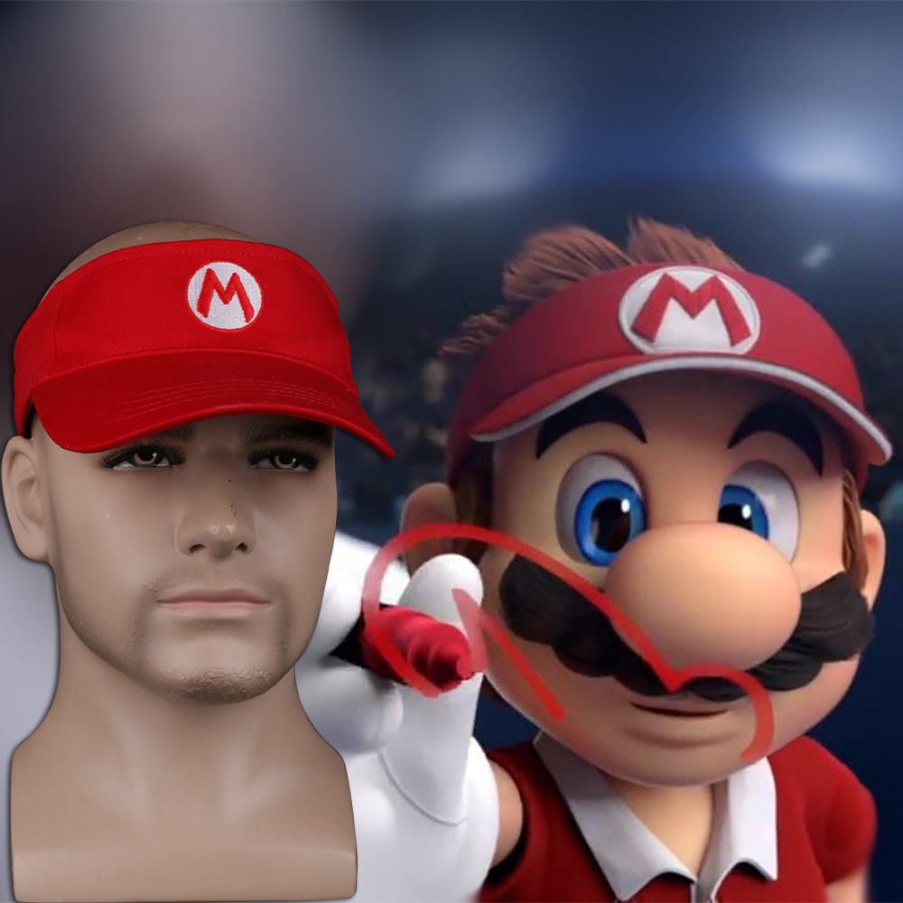 2018 Mario Tennis Ace Mario Tennis Cap Mario Adjustable Sun Visor Sport Golf Hat Cosplay Costume Accessories