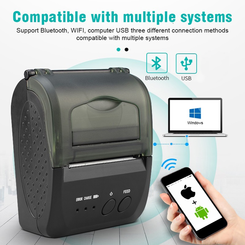 ZJ 5809 Portable Mobile Photo Mini Bluetooth POS 58mm Thermal Printer Bar Code Android Pos Handheld Ticket Smartphone Printer