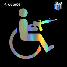 Anycuros Handicapped Wheelchair Gun Creative Vinyl Car-Styling Stickers Decals 15cm*16cm(China)