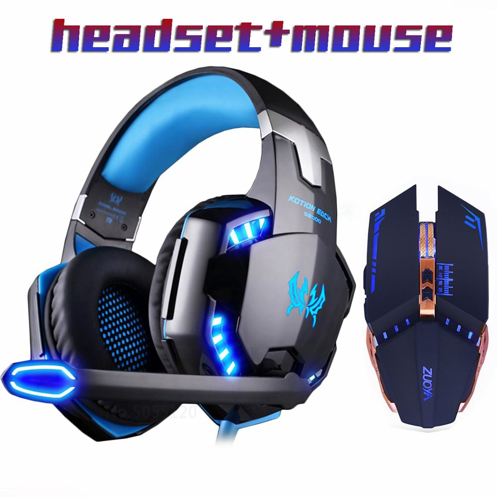 Gaming Headphone headset Stereo Earphone for gamer+Gaming Mouse 5000DPI Adjustable  Mice LED Light Optical USB Wired laptop