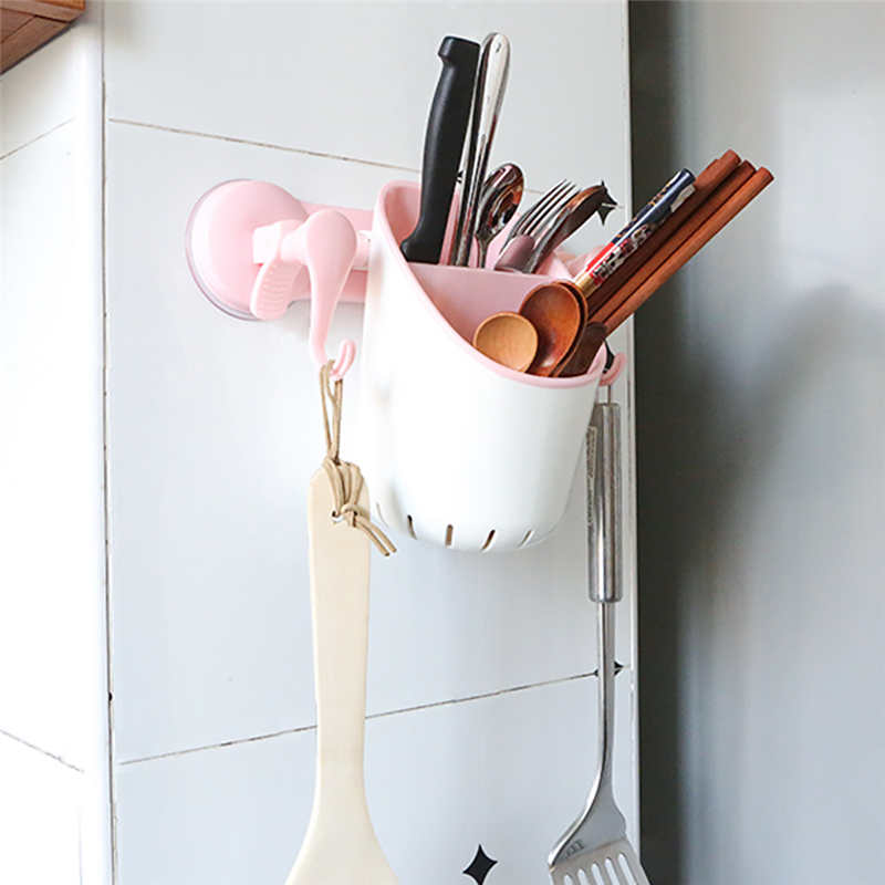 Image 2 - New listing Creative Power Plastic Powerful Suction Cup Garbage Bag Kitchen Clip Garbage Storage Rack Wall Mounted Bracket Stora-in Racks & Holders from Home & Garden