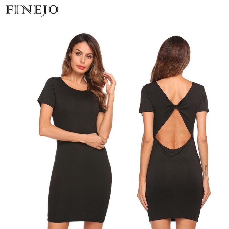 FINEJO Summer Women Dress 2019 Casual Backless Party Short Sleeve O Neck Solid Elegant Bodycon Mini Female Vestidos