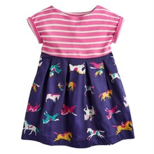 Unicorn Paillettes Dress for Girls Clothes Dinosaur Embroidery with Sequins Childrens Vestidos