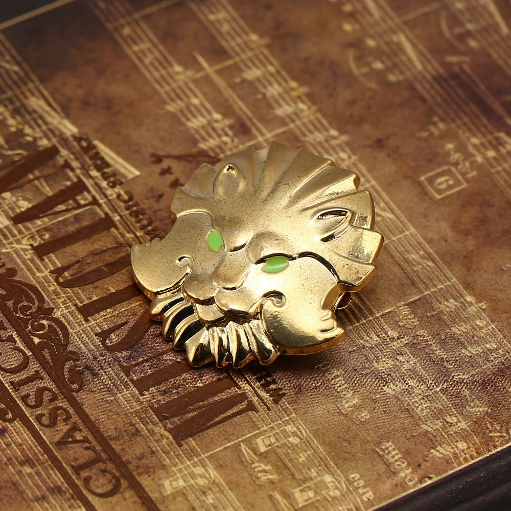 HSIC Dota2 Brooch Pins New Lion Head Type Icon Gold Metal Courage Badge Medal Online Games Brooch For Women Men Jewelry HC12209