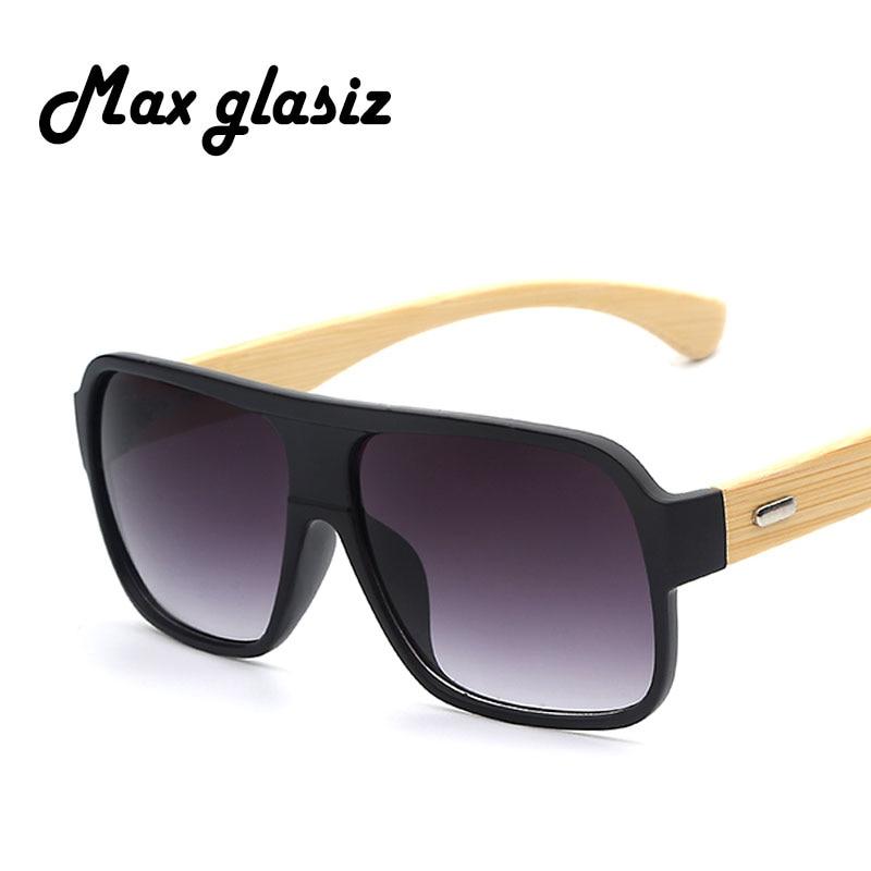 max glasiz new 2016 bamboo frame square wooden sunglasses men retro vintage eyewear unisex male glasses