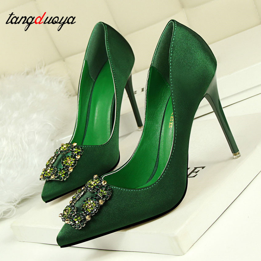 De Talons dark Green gray Green Strass Cristal Sapatos Chaussures black black Hauts Mulher Green Dames Carré light Red Mariage Pompes pink Boucle Femmes w41qq8IR