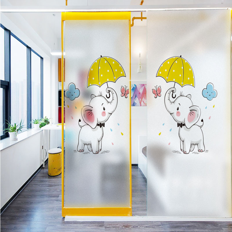 Bathroom window stickers bathroom light opaque glass film matte film stickers anti-privacy anti-lighting cartoon
