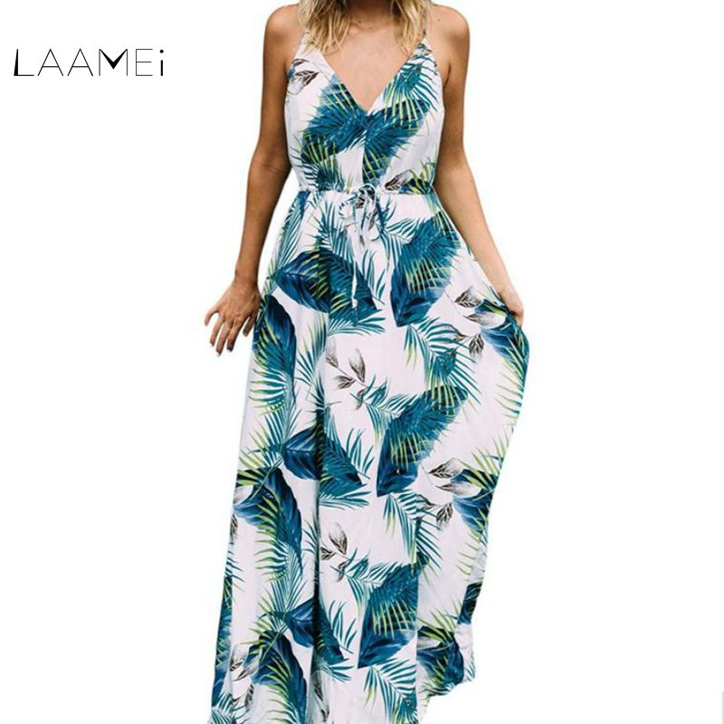Laamei 2018 New Long Dress Boho Sexy Ladies Turquoise Tropical Leaf Print Sexy V Neck Maxi Beach Summer Dress Vestidos Mujer