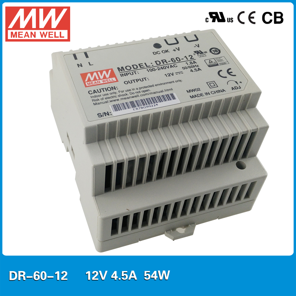 Original MEAN WELL DR-60-12 Single Output 54W 12V 4.5A DIN rail mounted meanwell industrial power supply 12v