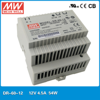 Genuine MEAN WELL DR 60 12 Single Output 54w 12v 5 4A DIN Rail Mounted Meanwell