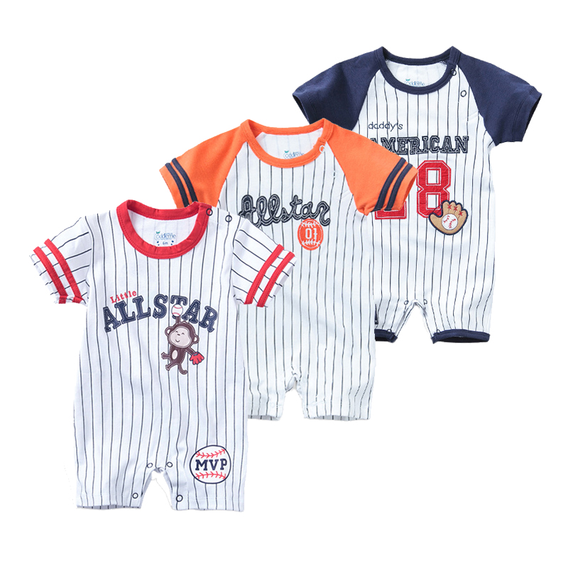 Baby Summer Clothes Boys | Summer Newborn Baby Clothes Boys Romper Short Sleeve Jumpsuit Cartoon Printed Sports Baseball Rompers Overalls Baby Clothes