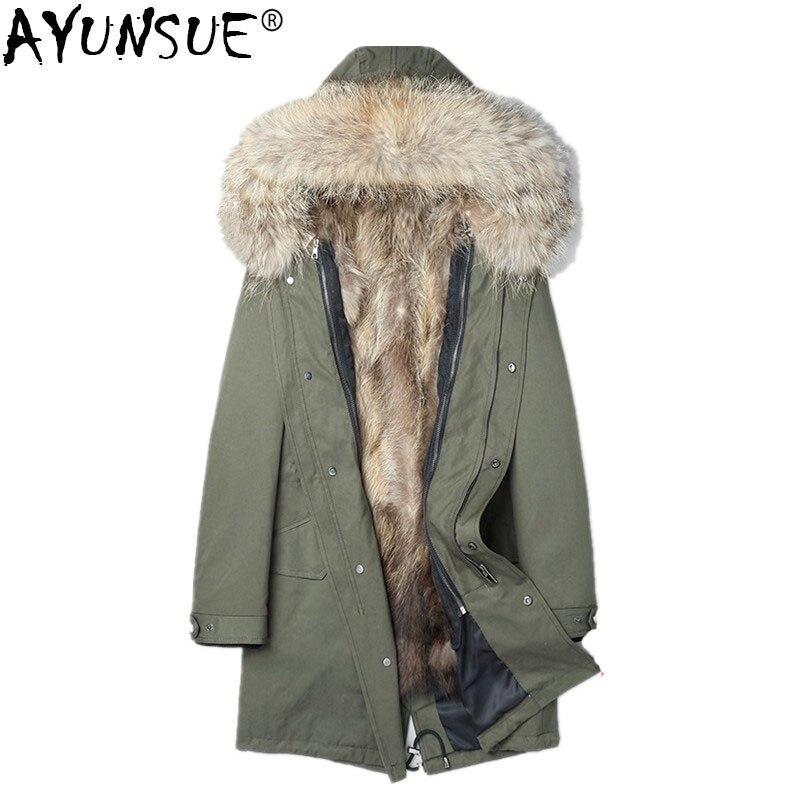 AYUNSUE Natural Raccoon Fur Parka Men Winter Coat Men Real Raccoon Fur Collar Jacket Long Overcoat Winterjas Heren P18033 MY775