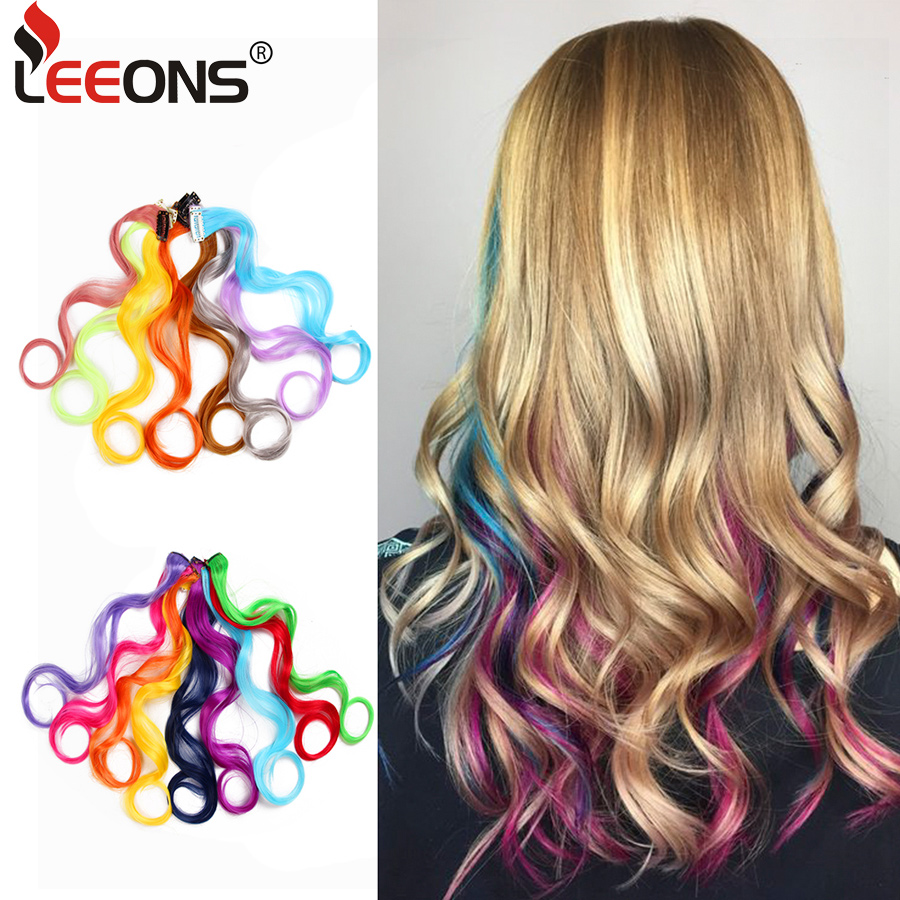 Leeons Rainbow Wavy Hair Extensions Long Hair Extensions One Single Clip In Wigs Colorful Synthetic Fiber False Fake Hair 20