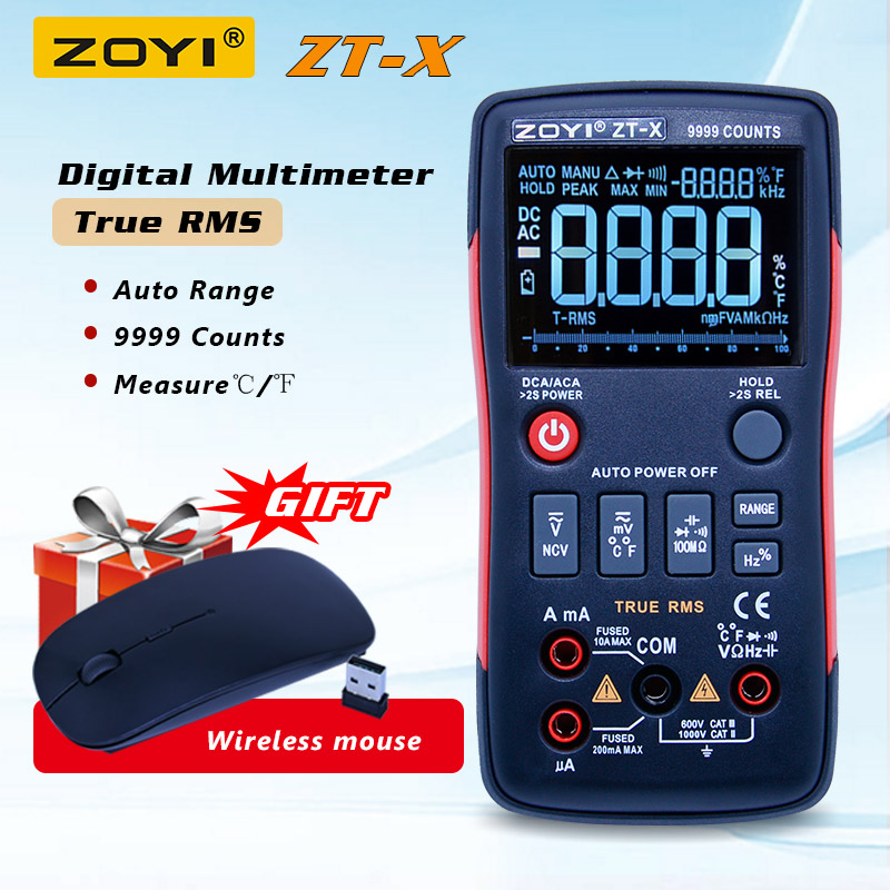 ZOYI ZT-X multímetro Digital ac dc voltímetro de rms verdadero auto de la gama multímetro con NCV de retención de datos de la pantalla LCD de pantalla