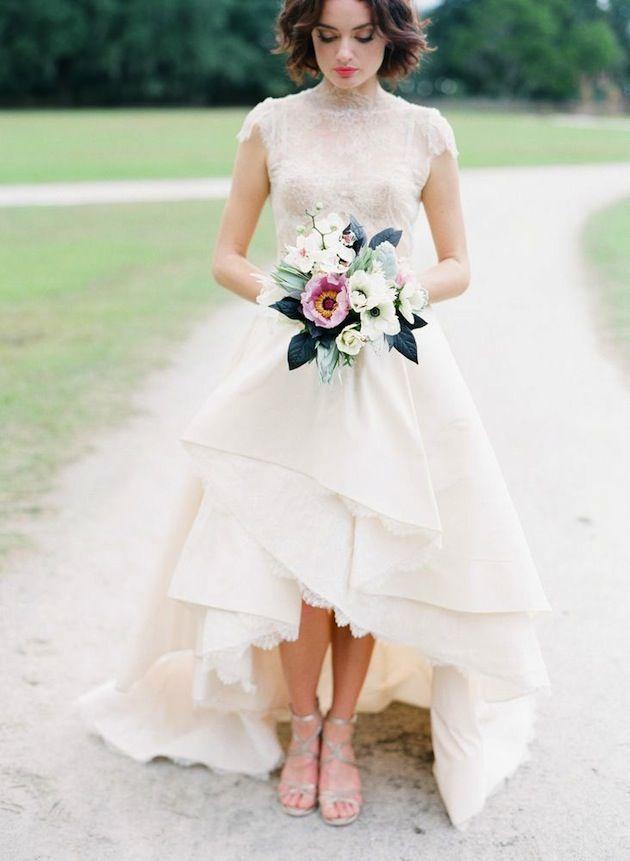 Vestido De Noiva Short Sleeve High Low Wedding Dresses Short Front