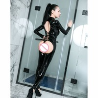 Wetlook PU Sexy Hot Erotic Jumpsuti PVC Catsuit Open Crotch Bodysuit Porno Lingerie One Piece Crotchless Exotic Babydoll Teddies
