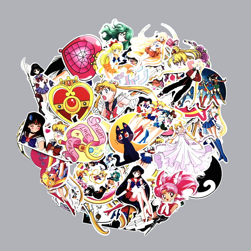 75pcs Anime Sailor Moon Chibiusa Tsukino Usagi Mars Venus Suitcase Decal Sticker Cartoon DIY Scrapbook Craft Decor Cosplay Prop