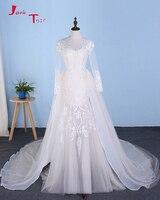 Joky Quaon 2017 New Arrive China Bridal Gown Vestido De Casamento Long Sleeve Pearls Appliques See
