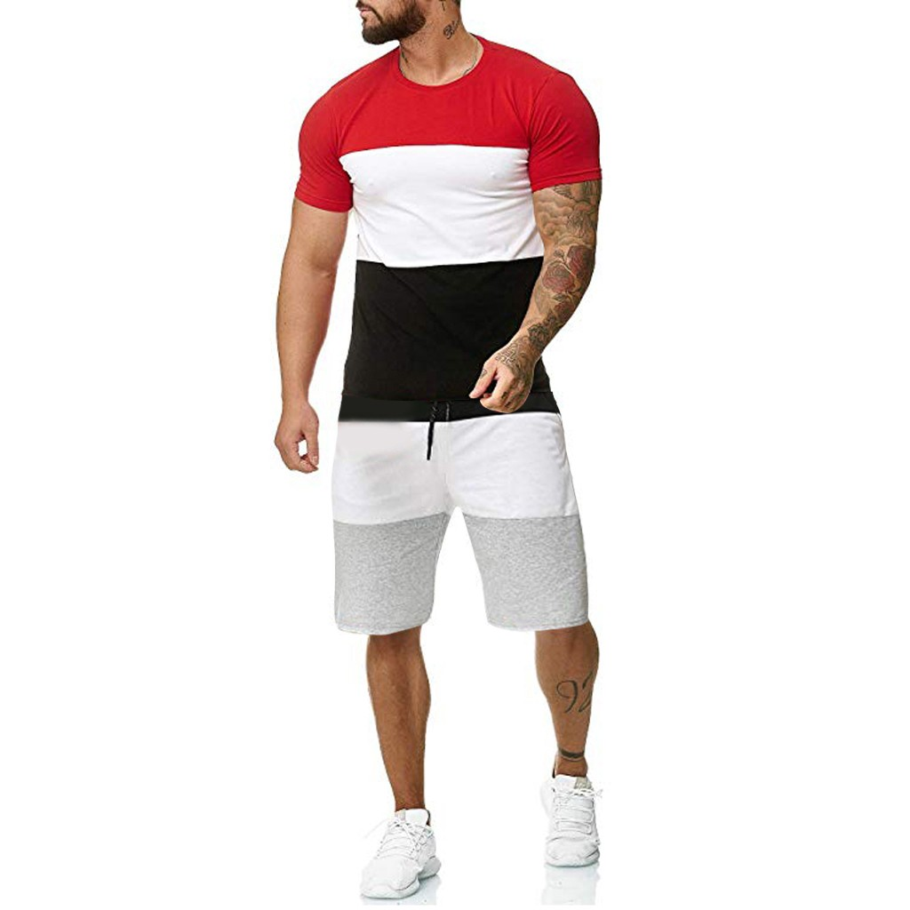 KLV Men's Sets Mens 2 Piece Outfit Sport Set Short Sleeve Summer Leisure Casual Short Thin Sets Suit CLOTH High Quality Hot 7.12