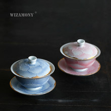 1PCS WIZAMONY Chinese Kung Fu Tea set gaiwan teapot teacups fair mug tea set Japanese youtisn ceramic fot gift puer Drinkware(China)