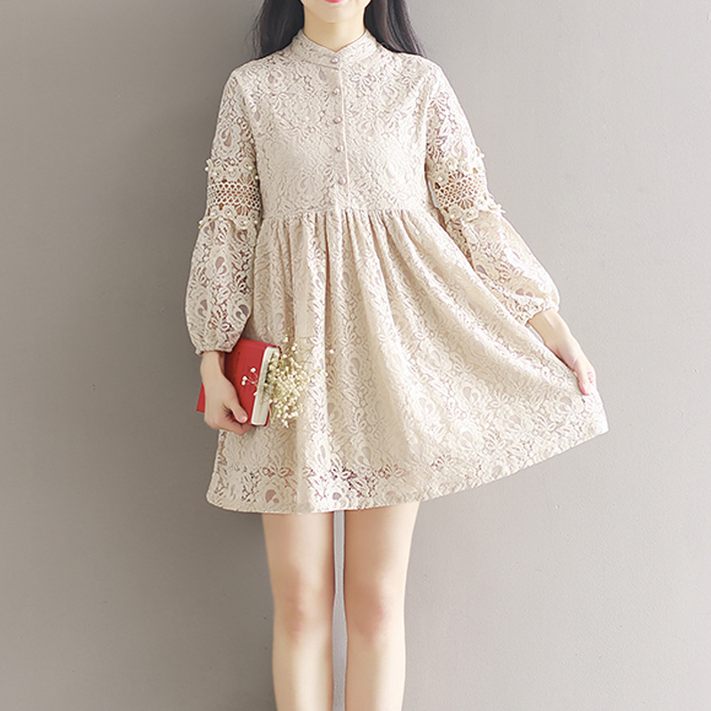 Stand Collar Dress Designs : New spring vintage crochet lace stand collar cutout